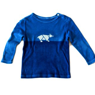 Natural blue dye infant T-shirt (long sleeve) series - Bear