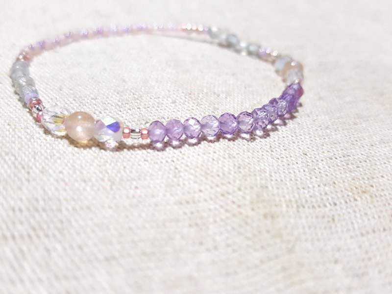 Pink Amethyst x Orange Moonstone x Blue Moonstone - Pure Amethyst