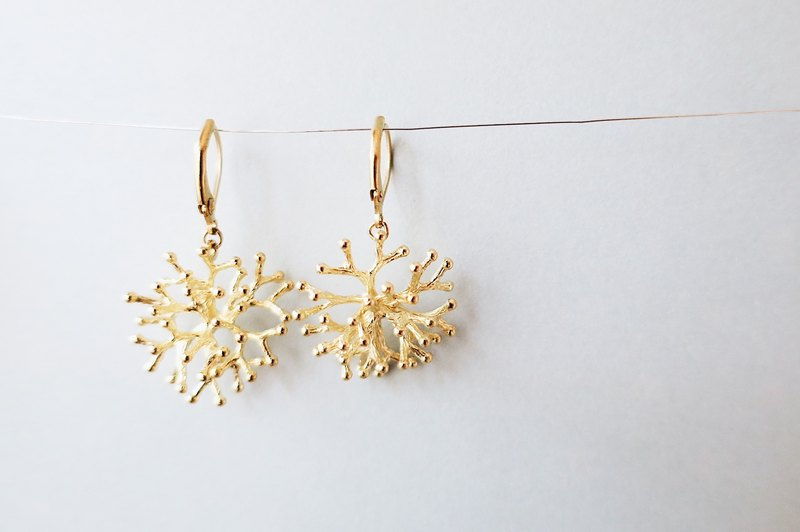 [endorphin] three-dimensional coral brass earrings