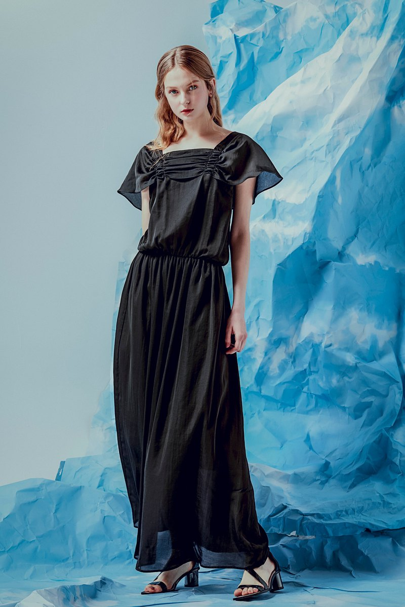 Black satin dress with long sleeves