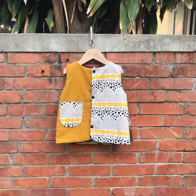 Double-sided color matching vest-mustard yellow