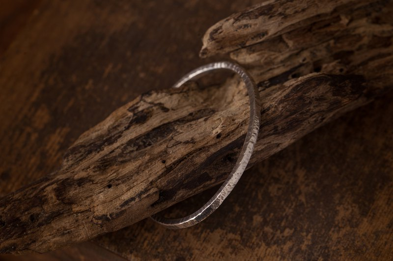 Forging Bangle Lecture Bracelet - Silver Silver - Stereo Forged