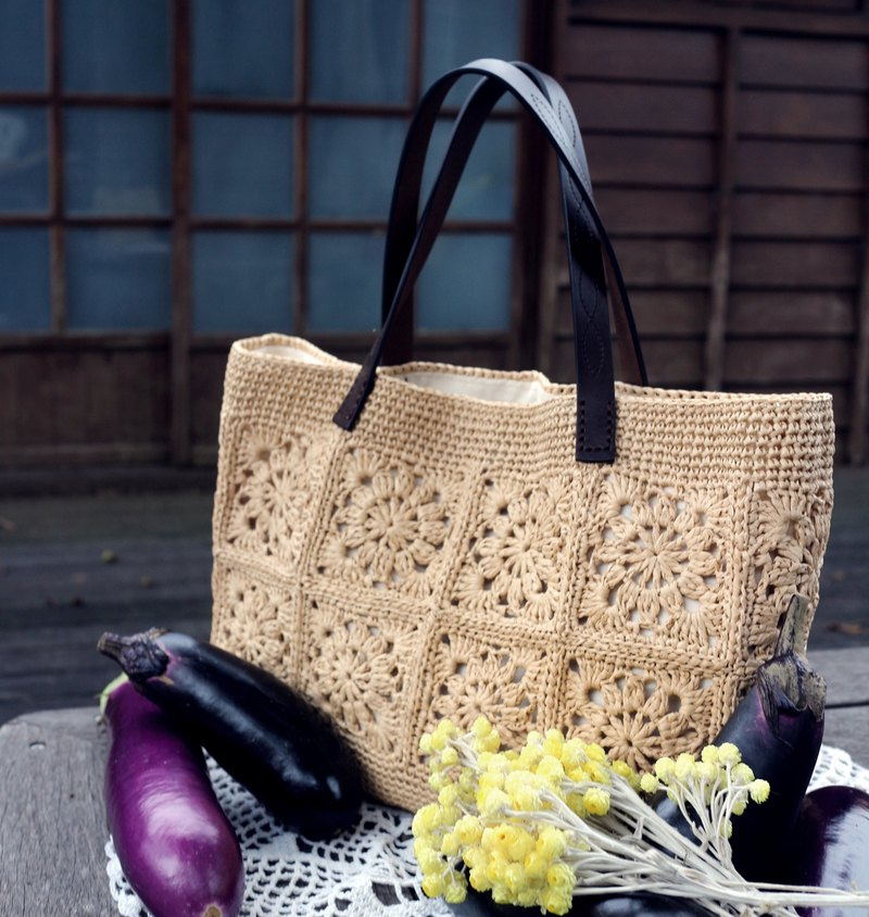 Handmade - window flower recalled handbag - true color - plant tanned leather handle - travel / birthday gift