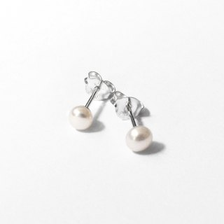 Minimalist | 4mm natural round skull-shaped freshwater pearl sterling silver earrings. Christmas exchange gift.