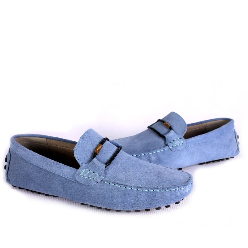 Temple filial good-style yuppie woven suede peas shoes sky blue