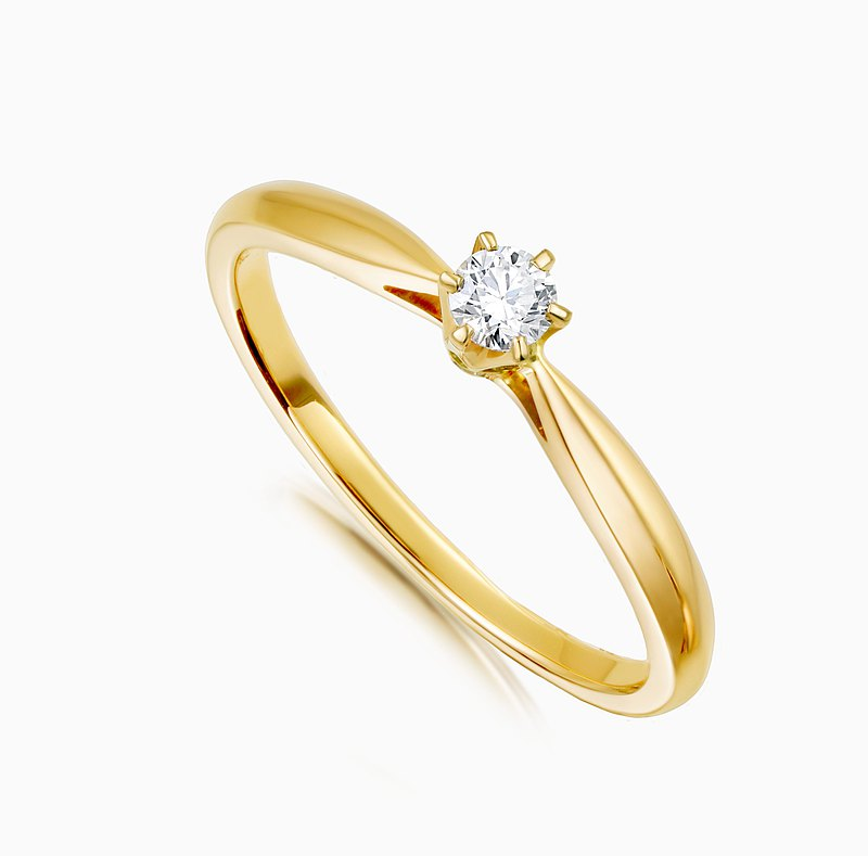K gold ring Freya diamond ring classic six prongs calm and luxurious texture taste