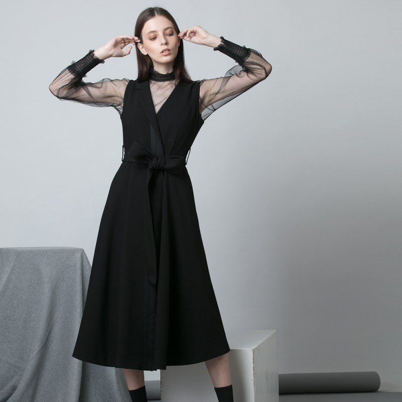 FW19 black two-piece suit collar long skirt - Hong Kong original brand Lapeewee