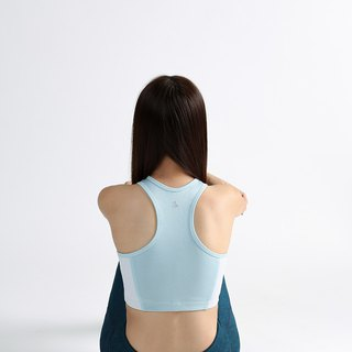 Two-Tone Ace Crop in Whythe Blue & White