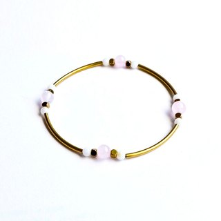 Brass Natural Stone Crystal/Shell Bracelet
