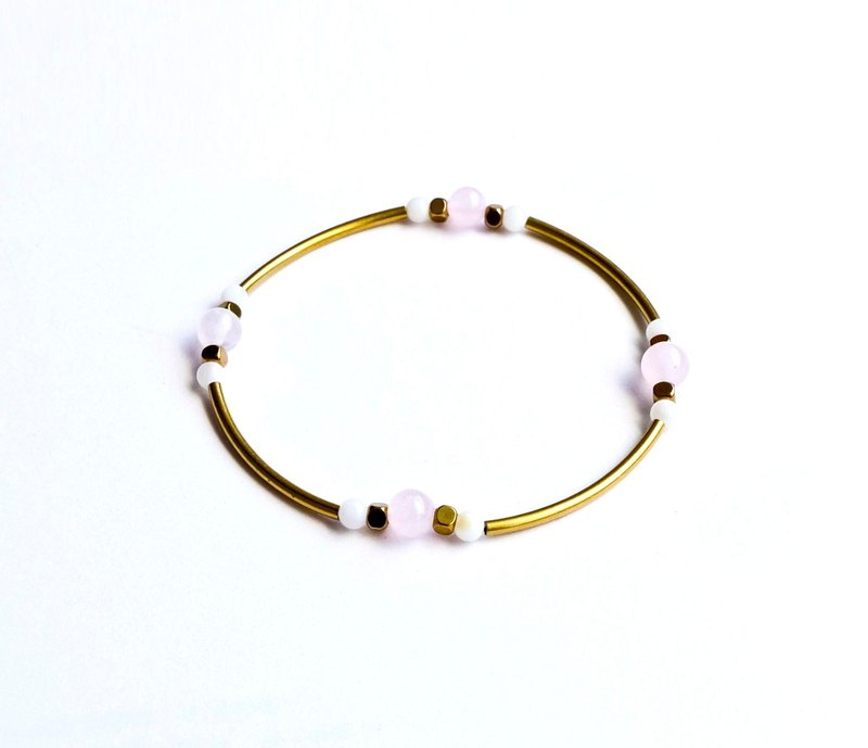 Brass natural stone powder crystal / shell bracelet