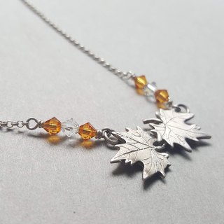 Cut Flower Series Maple Leaf / Silver Necklace / Swarovski Crystal