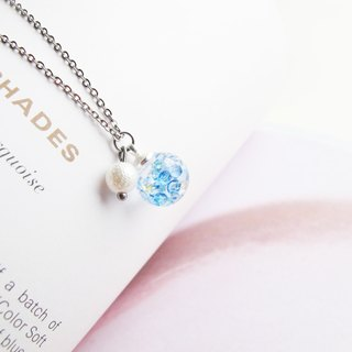 Rosy Garden blue crystal water inside glass ball necklace 1cm diameter