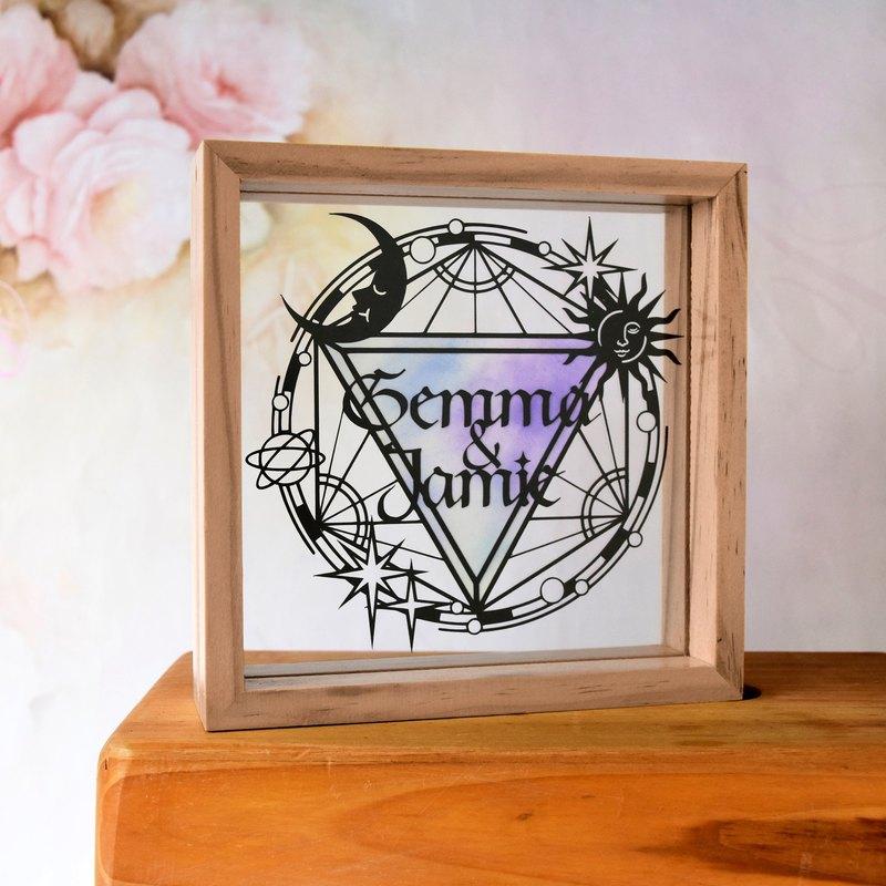 星盤主題 // 簡約手工客製化名字紙雕手染相框禮物 // 結婚禮物