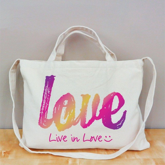 [Valentine's Day] Love Live (powder) Cultural & Creative wind horizontal canvas bag