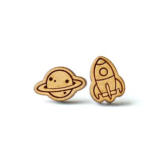 Plain wood earrings-Planet & Rocket