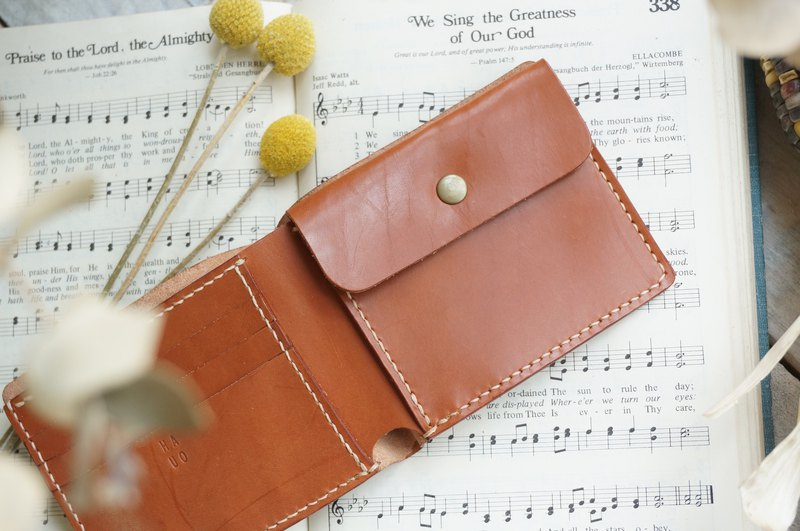 Red coffee classic gentleman short clip / wallet / card holder
