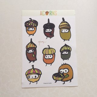 Acorn illustration sticker