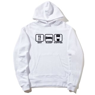 Eat Sleep Coffee front figure long-sleeved bristles hooded T neutral white Wenqing English sleep coffee