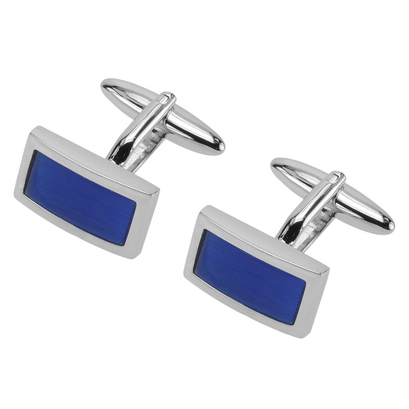 Blue Catseye Rectangular Cufflinks