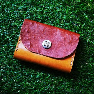 Double-layer card leather coin purse - dark brown ostrich pattern flower buckle version