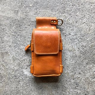 Mobile phone bag, waist bag, multi-fat vegetable tanned cowhide, old-fashioned, hand-made [LBT Pro]