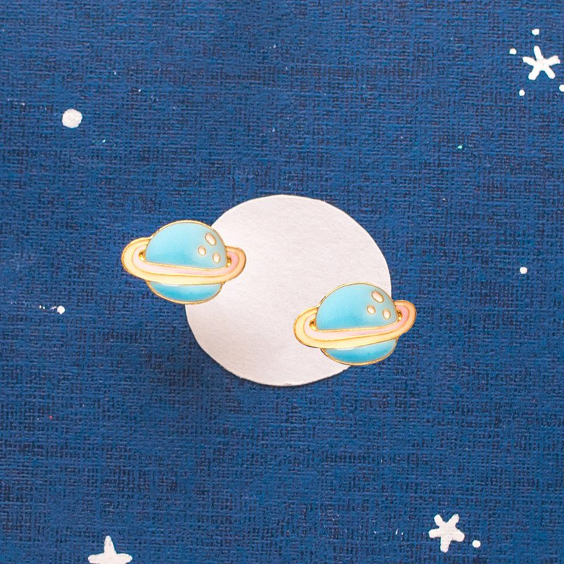 Mysterious Blue Planet Hand Made Earring Ear Clip