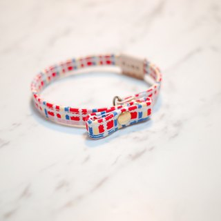 Cats 啾啾 啾啾 collar red and yellow checkered with double-sided reverse brand-name gift bell