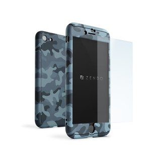 ZENDO iPhone 7 Special NanoSkin EX Full Cover Case - Camouflage Blue (4589903520052)