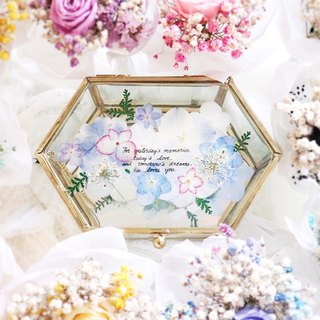 Pressed flower with Handwriting Accessory Jewelry Glass Box Wedding Gifts