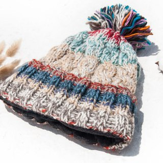 Hand-knitted pure wool cap / knit cap / knitted cap / inner brush hair hand-woven hat - Nordic caramel bread