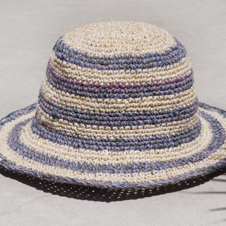 Hand-knitted cotton and linen cap knit hat fisherman hat visor straw hat - French purple lavender forest