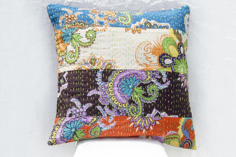 Flower Embroidered Pillow Case Cotton Pillow Case Ethnic Wind Cushion Cover - French Style Wind Color Flower Forest