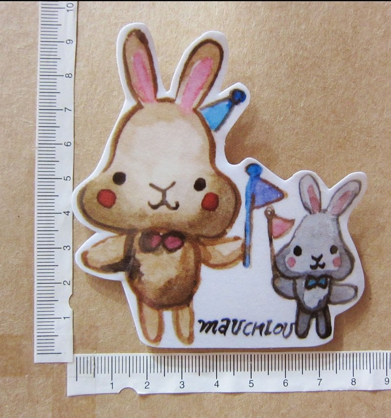 Hand-painted illustration style completely waterproof sticker rabbit we come to line