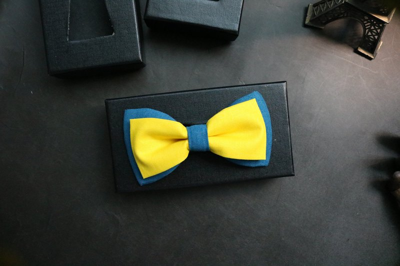 New color tie with yellow-green active stitching tie and gentlemanly bow
