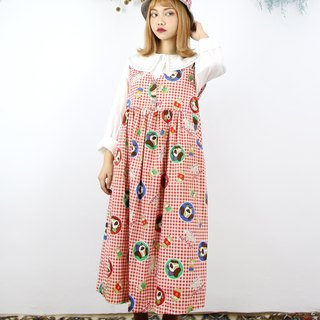 Back to Green:: 紅格紋 卡通狗狗 vintage dress (DS-02)
