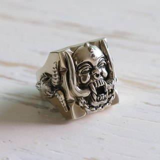motorhead Biker Ring sterling silver skull ace of spades rock heavy retro 925