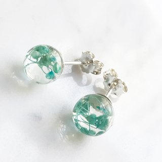 Real flower Tiffany Blue Gypsophila sphere glass S925 silver earrings