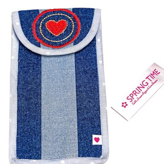 Carry A Happy Heart Denim Pouch