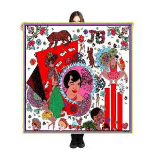 "Large Scarf/Sarong ""J'ai tant d'amour"" 140x140cm Limited Edition 250 pieces"