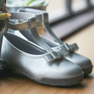 Harper silver T-shaped doll shoes