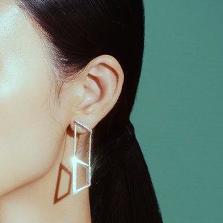 Sterling silver geometric magnetic buckle earrings