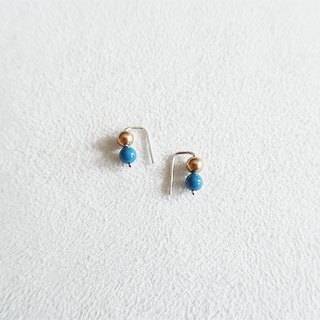 4mm round beads/Deep blue gold/Color beads/Earrings/Sterling Silver/By hand【ZHÀO】SZE1771