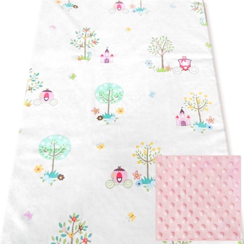 Minky多功能 點點顆粒 攜帶毯嬰兒毯冷氣毯被 粉色-童話