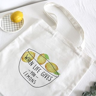 Color-Up Hand-painted Collection - Lemon Canvas Print Tote