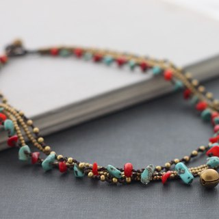 Fire And Ice Stone Brass Bohemian Necklaces Short Ethnic Style Necklaces