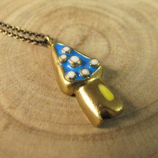 [Small house - Detached necklace] (blue-yellow-white)
