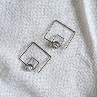 Copper earrings one-line square ice crack glass pearl classic design non-oxidative discoloration