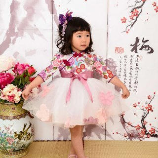 Flower butterfly modified cheongsam dress