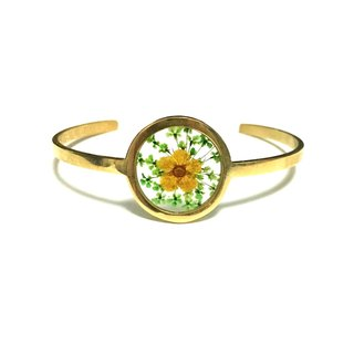 Stainless Steel Golden Pressed Flower Bangle