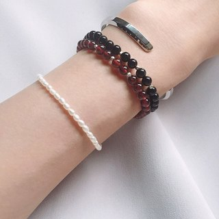 [Ofelia.] Series natural stone - natural red garnet simple fine grain silver bracelet x [J74-Besty] Crystal / natural stone